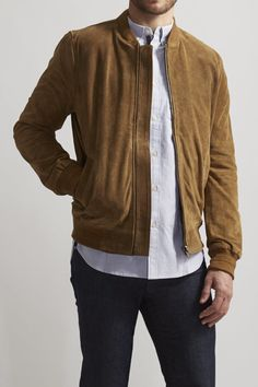 $224, Tan Suede Bomber Jacket: Bellfield Bermuda Suede Bomber. Sold by JackThreads. Click for more info: https://lookastic.com/men/shop_items/277868/redirect