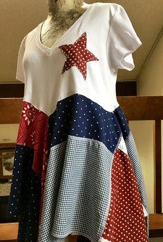 Lagenlook upcycled patriotic tunic