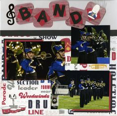 Scrapbook layout from Erik's Sr Scrapbook / Album - Marching Band (this is the first page of a 2-page layout that I changed up a little)