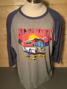 Vintage 1984 Alabam World Concert  Tour50/50 Raglan T-Shirt Great Color Made in USA by 413productions on Etsy