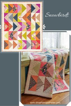 Snowbirds lap quilt. Lap quilt patterns are always popular! Learn to sew large flying geese units to and make this lap quilt in an afternoon. Project Rating: Easy.