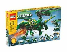 LEGO Creator Mythical Creatures by LEGO. $215.99. Move wings to make dragon breathe fire; Articulated joints bring creatures to life; Build and rebuild to create incredible mythical creatures; 588 pieces; Three levels of building instructions. Amazon.com                Gliding overhead on a wingspan more than two feet  wide, this incredible dragon will undoubtedly cast fear (and a very large  shadow) into little Legoland hearts below. Mythological creatures always  loom larger ...