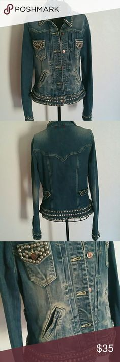 Studded jeans jacket Very original studded jeans jacket , great quality and condition. Vintage Rebel Jackets & Coats Jean Jackets