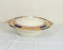Art Deco Meakin Queen Mary Soll Imari Pattern  Covered Vegetable Dish with Lid