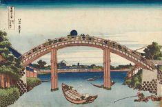 """Hokusai Katsushika (1760-1849), 4ème vue, """"Sous le pont Mannen à Fukagawa"""", in les """"Trente-six vues du mont Fuji"""", vers 1829-1833, 248 x 369 mm. Éditeur : Eijudô (Nishimuraya Yohachi), site BnF."""