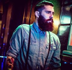 full thick beard and mustache beards bearded man men mens' style suspenders denim hair undercut hairstyle tattoos tattooed bushy handsome Epic Beard, Full Beard, Beard Love, Beard Styles For Men, Hair And Beard Styles, Hipsters, Chris Millington, Chris John, Undercut Hairstyles