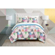 Pop Shop Color Triangles 7-piece Bed in a Bag Set, Multicolor