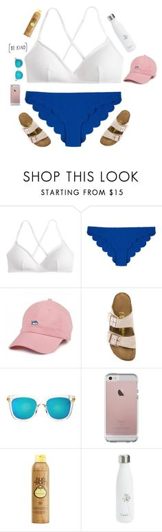 """""""i honestly stink at beach sets lol"""" by christyaphan ❤ liked on Polyvore featuring J.Crew, Marysia Swim, Southern Tide, Birkenstock, Gentle Monster, Sun Bum and S'well"""