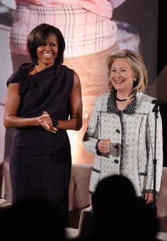 U.S. Secretary of State Hillary Clinton shares a laugh with first lady Michelle Obama during the ceremony for the International Women of Courage Awards at the U.S. Department of State March 8, 2011 in Washington, DC. The award were given on the 100th anniversary of International Women's' Day to 10 women recognized for their 'courage and leadership as they fight for social justice, human rights and the advancement of women.' Photo Credit: Chip Somodevilla, Getty Images  via @AOL_Lifestyle…