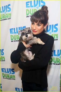 Lea Michele: Schnauzer Puppy Kisses at Elvis Duran Show | lea michele elvis duran show stop 11 - Photo