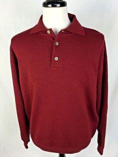 FACONNABLE Sweater Mens XL Burgundy WOOL Long Sleeve Polo #Faonnable #Polo
