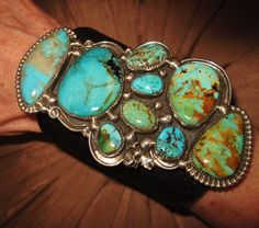 "NATIVE AMERICAN TURQUOISE LEATHER BRACELET,112g Sterling Silver CHAVEZ 4.5"" wide #CHAVEZNAVAJO"