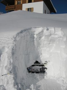 Lech, Austria saw a HUGE amount of snow during the 2012 winter. Lots of deep powder, however it did take local ski instructor Dominik 9 hours to dig his van out!