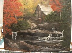 Landscape Oil Paintings and Prints by LindaSturmFineArt Waterfall Paintings, Canvas Board, Landscape, Oil Paintings, Prints, Etsy, Vintage, House, Art