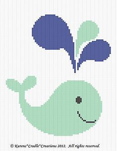 Crochet Pattern - COLORFUL WHALE Baby Afghan Graph Pattern *EASY/BEGINNER