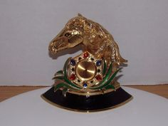 VINTAGE GOTIE JEWELED  CLOCK HORSE HEAD FRANCE GRIPOIX GLASS CRYSTALS GOLD PLATE