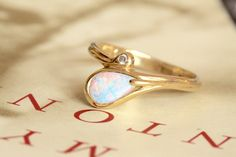 Opal Diamond Ring, Vintage Snake Bypass Ring, 14k Gold Vintage Art Nouveau Alternative Engagement Ring, Australian Opal Cocktail Ring