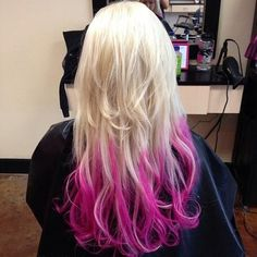 """Hot pink """"dip dye"""" ends.  I love this style of dying.  I want to use this with temporary dye to try some different colors."""