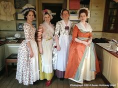 The mantua-makers of the Margaret Hunter millinery shop dressed in holiday finery. Christmas, 2014. http://twonerdyhistorygirls.blogspot.com/2014/12/day-i-christmas-in-colonial.html: