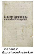 "Title page in ""Expositio in Psalterium"""