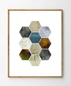 Honeycomb - Geometric Wall Art, Scandinavian Design, Stellaire Studio