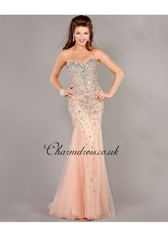 Reception dress or bridesmaid. Champagne Sweetheart Beaded Long Prom Gown With Beading