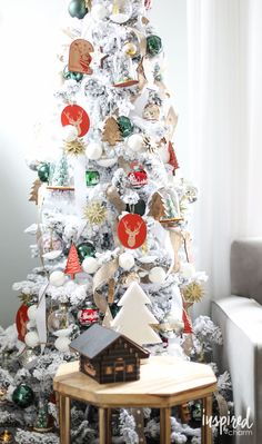 Frosted Christmas Tree - Holiday Home Tour   inspiredbycharm.com