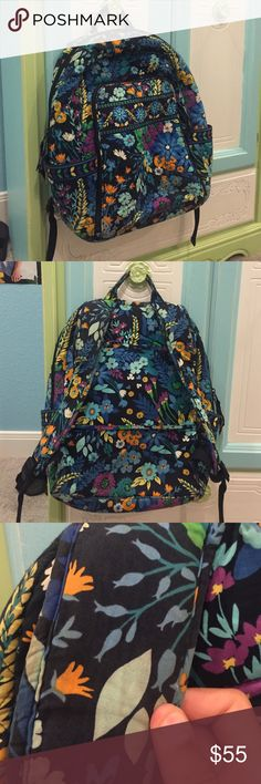 Vera Bradley Backpack Color: Blue, green, yellow, purple, orange, and black. Size: OS. Used. I was going to sell my green one but there is a pink stain in the pocket, so yeah. Vera Bradley Bags Backpacks