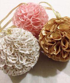 Fabric Pom Pom home decor nursery blush gold polka dot by erinkeys, $30.00