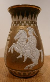RIESSNER, STELLMACHER & KESSEL AMPHORA. I found this vase at a collectors fair in Sydney two months ago. I had seen the mark before and knew that it was Amphora. The seller wanted very little for it. It needed to be saved.  I think it has a portrait of Alexander the Great on Bucephalus. Riessner, Stellmacher & Kessel Amphora, a pottery factory in Trnovany, Czech Republic (Turn-Teplitz, Bohemia Austria). I love the subdued gilding and the colour tones on these Amphora pieces.