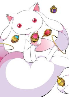 Kyubey or QB from madoka magica. The devil himself embodying a fuzzy creature... Lol