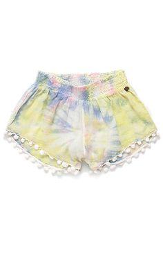 tie-dye pom pom shorts!
