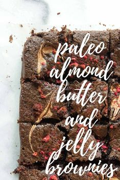 Paleo Almond Butter and Jelly Brownies | #brownies #dessert #paleo #grainfree #glutenfree #fromscratch #easy #homemade | hungrybynature.com