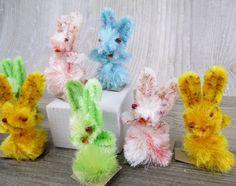 8 Vintage Chenille Rabbits Bunnies 1950's by hauntedlampvintage