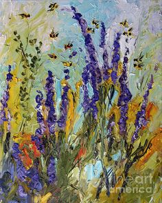 #Impressionist #Lavender and Bees Provence Oil Painting