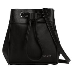 """Fit for the fashion savvy, this trendy bucket bag from Canada's favourite cruelty-free fashion brand is a must-have this spring. Boasting one zippered pocket and one slip pocket for your smartphone, it will transition seamlessly from running your Sunday errands to work the following day. 100% vegan leather. 100% recycled nylon lining. Shoulder strap: 24.5"""". 6"""" x 7.75"""" x 3.5""""."""