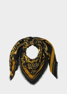 Barocco print Foulard - Black Gold Foulards & Scarves