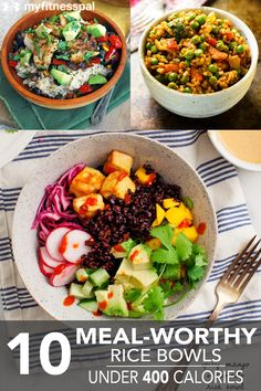 Healthy Dinner Recipes 400 Calories Eggs - 10 meal-worthy rice bowls under 400 calories 400 Calorie Dinner, 400 Calorie Meals, No Calorie Foods, 400 Calorie Breakfast, Diet Foods, Salad Recipes Under 400 Calories, Healthy Rice, Healthy Eating, Healthy Summer