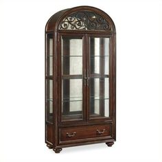 Hooker Furniture Grand Palais 2-Door Display Cabinet (€2.345) ❤ liked on Polyvore featuring home, furniture, storage & shelves, display units, espresso, double door curio cabinet, burl furniture, black furniture, hooker furniture and colored furniture
