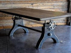 Vintage Industrial Hure Crank Dining Table by VintageIndustrial Industrial Style Furniture, Industrial Dining, Vintage Industrial Furniture, Metal Furniture, Vintage Home Decor, Furniture Design, Industrial Bookshelf, Furniture Hardware, Industrial Chic