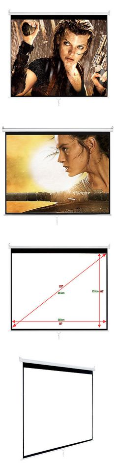 Home Theater Projectors: 100 4:3 Hd Manual Projector Screen Pull Down Matte White With Outo Lock Screen -> BUY IT NOW ONLY: $43.99 on eBay!