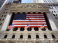 Photos of Wall Street - Fine Art Prints, High-Res Stock Images - New York Stock Exchange Exterior with American Flags