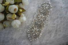 rhinestone applique for bridal sash wedding headband by Retrolace