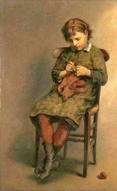 Knitting a Jersey-Lionel Oscar Baes (1839 – 1913, Belgian)