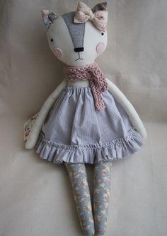 Cat Handmade Doll, stuffed toy, plush cat, stuffed animal, cloth doll, Doll Fabric cat , Linen Dolls,decorative toy, baby gift by LaPetiteMaisonShop on Etsy
