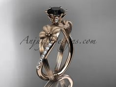 Unique 14kt rose gold diamond flower, leaf and vine wedding ring, engagement ring with a Black Diamond center stone ADLR221