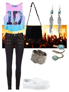 """One Direction Concert?"" by lioncupcake ❤ liked on Polyvore featuring Vans, Paige Denim, NLY Accessories and Free People"