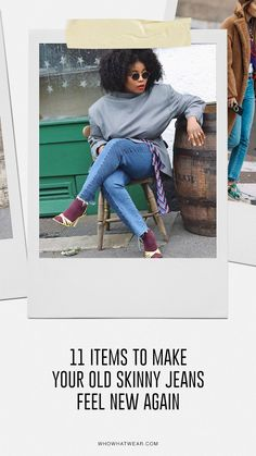 11 items to buy to make your skinny jeans feel brand new. Skinny Jeans Style, Cropped Skinny Jeans, Dad Sneakers, Embellished Shoes, Most Comfortable Shoes, Sheer Tights, Double Denim, Oversized Denim Jacket, Plain Tees