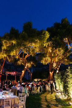 Dreamy for a fairy tale-esque Destination Wedding, Wedding Venues, Fairy Lights Wedding, Floral Wedding Decorations, Outdoor Wedding Inspiration, Elegant Wedding, Greece, Dolores Park, Scenery