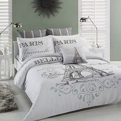 100% Cotton 4 pcs Turquoise Paris Eiffel Tower QUEEN Double ... : paris quilt covers - Adamdwight.com